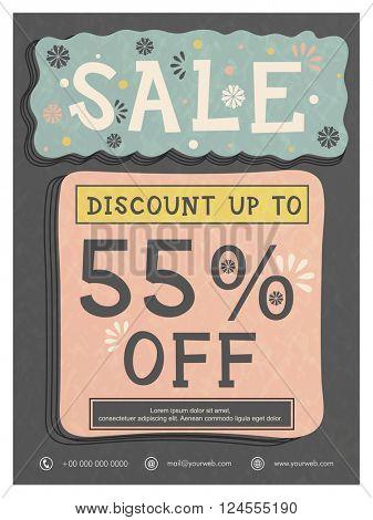 Sale Poster, Sale Banner, Sale Flyer, Discount Upto 55%. Vintage vector illustration.