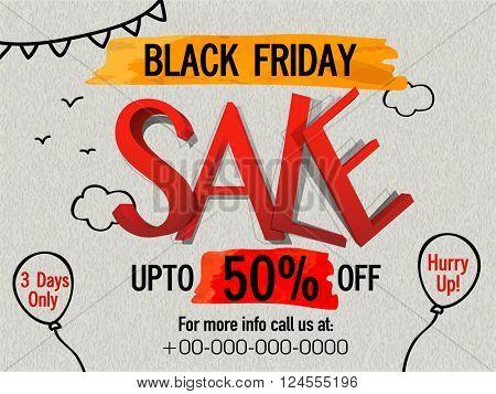 Black Friday Sale Flyer, Sale Poster, Sale Banner, Discount upto 50%, Limited Time Sale. Vector illustration.