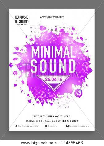 Minimal Sound, Music Party celebration Flyer, Banner or Template with purple splash.