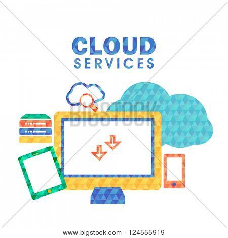 Modern flat style illustration of Cloud Hosting Provider Service, Network Server, Business Data Solution. One page web template, hero image concept, website element layout.