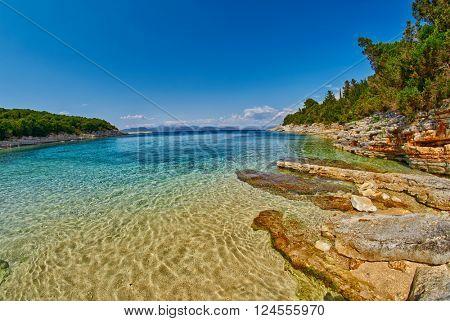 Fiskardo Foki Beach of Kefalonia, Greece with Crystal Clear Waters