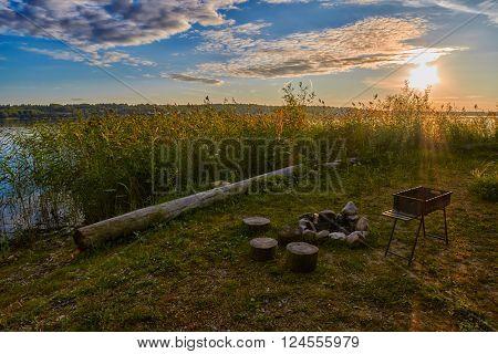 Abstract warm Sunset Lake Camping Fireplace