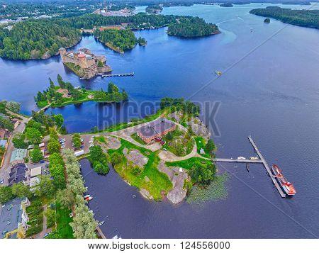 Aerial view of Olavinlinna Olofsborg Medieval 15th century northernmost Stone Castle in Savonlinna, Finland.