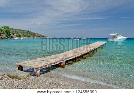 Boats and pier on the Aegean island of Samos