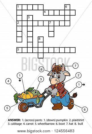 Vector Color Crossword. Character Bull Gardener