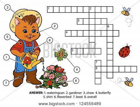 Vector Color Crossword. Cat Gardener Watering Flowers
