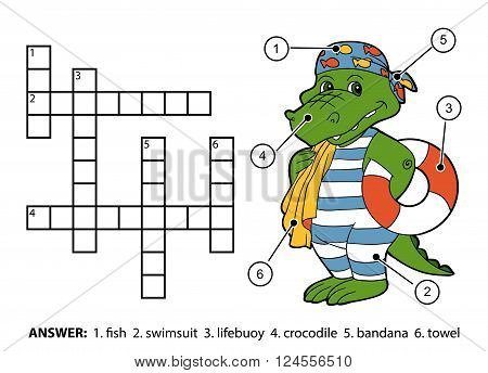 Vector Color Crossword. Crocodile Swimmer With Lifebuoy
