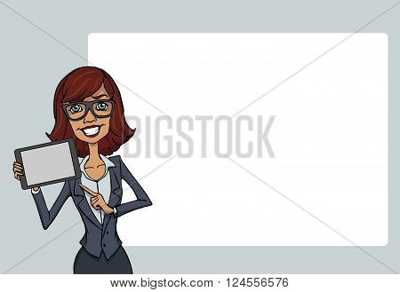 Gilr with tablet screen on white background. Vector illustration character with bubble talk. Flat design concepts for web banners web sites printed materials infographics startup marketing.