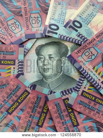 HONG KONG - MARCH 27, 2016: Hong Kong dollar juxtaposed against Chinese Yuan. Hong Kong and Mainland China adopt two different types of currencies under one country two systems.