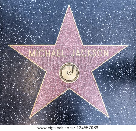HOLLYWOOD LOS ANGELES - OCTOBER 8 2015: Michael Jackson's star on Hollywood Walk of Fame in Hollywood California. This star is located on Hollywood Blvd. and is one of 2400 celebrity stars.