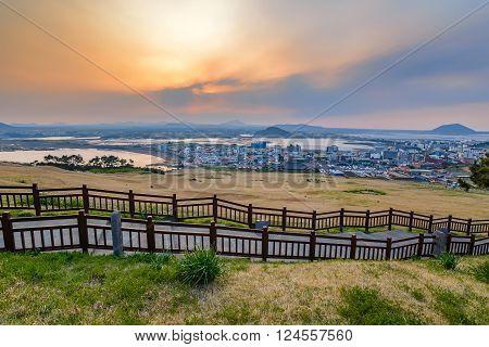 Sunset at Seongsan Ilchulbong Jeju South Korea