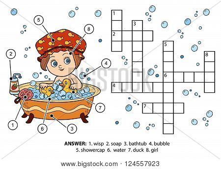 Vector Color Crossword. The Girl Takes A Bath With Foam