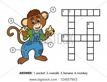 Vector Color Crossword. Little Monkey And Bananas