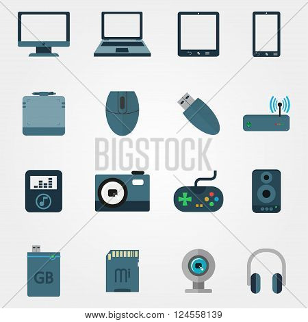 Tehnology In Flat Style Set Of Devices