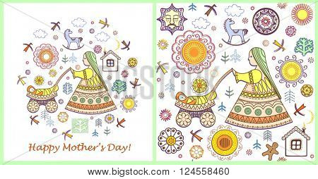 Vintage greeting card and wallpaper for Mothers day