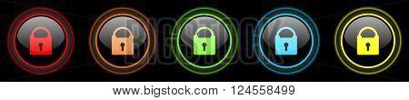 padlock colored web icons set on black background