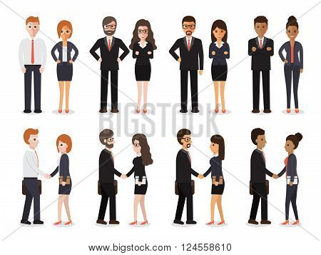Group of people at work with handshaking on white background. Flat design characters.