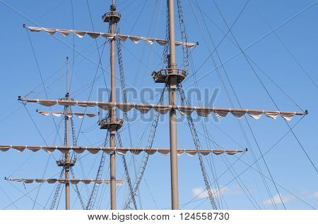 Masting of the big wooden sailing ship detailed rigging without sails