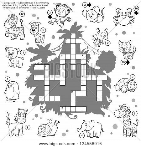 Vector Colorless Crossword, Education Game About Animals