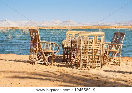 Relax place near the lake in the desert, Siwa oasis, Egypt