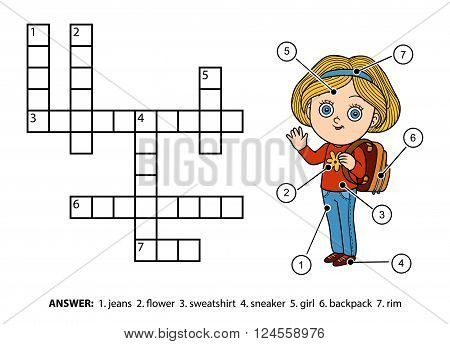 Vector Color Crossword. Schoolgirl Character With A Backpack
