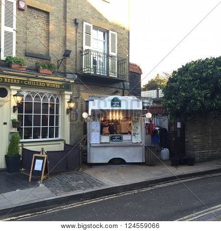 HAMPSTEAD - MARCH 31: La Creperie de Hampstead on March 31, 2016 in Hampstead, London, UK.