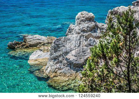 Adriatic sea and coast, Croatia. Croatia has clean blue sea called Adriatic sea, summer time in Peljesac.