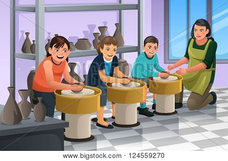 A vector illustration of group of children shaping clay in pottery class