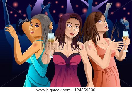 A vector illustration of young modern happy women dancing in a club