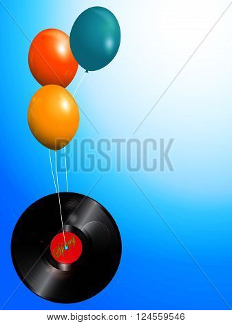 Record Vinyl with Spring Text Flying Attached to Balloons Over Blue Sky with Space for Your Text