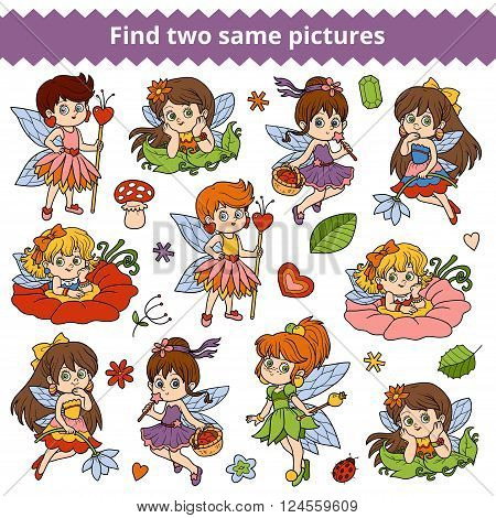 Find Two Same Pictures. Vector Set Of Little Fairy Girl