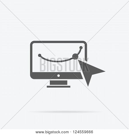 Design graphic work space icon. Graphic design workplace, technology and web design studio, graphic elements, computer drawing digital vector illustration. Vector shape on monitor with mouse cursor