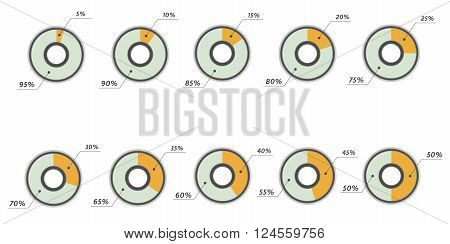Infographics vector: 5, 10, 15, 20, 25, 30, 35, 40, 45, 50 percent yellow blue pie charts isolated