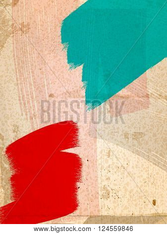 Red and Green Paint Strokes Over Very Grunge Background