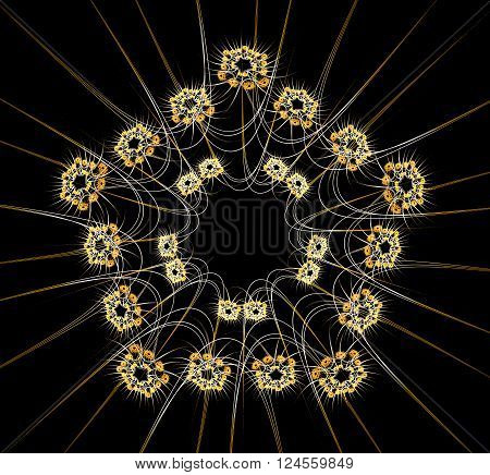 Abstract Fractal Design. Pentacle Of Stars On Black.