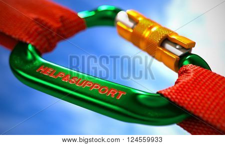 Red Ropes Connected by Green Carabiner Hook with Text Help and Support. Selective Focus. 3D Render.