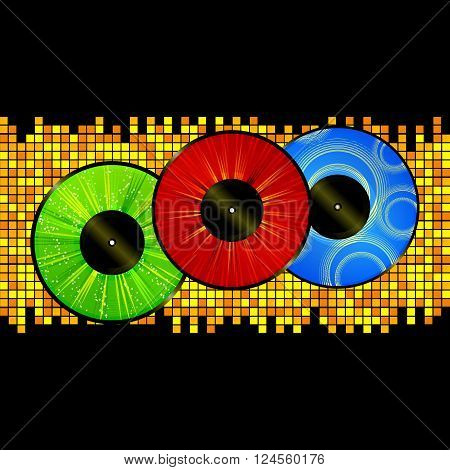 Vinyl Records Red Green and Blue Over Yellow Mosaic Background