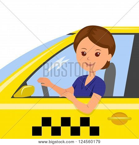 The girl behind the wheel of a taxi driver. Concept background banner for order a taxi. Cartoon illustration of the trip in a taxi.