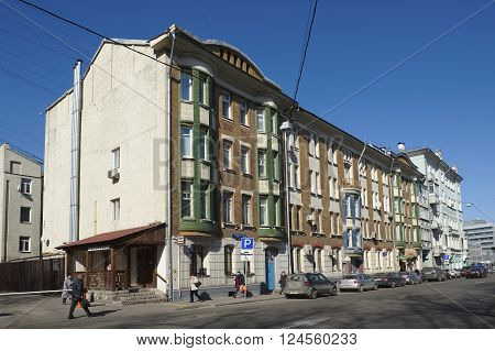 MOSCOW, RUSSIA - MARCH 28, 2016: Residential four-storey brick house down the street Shchepkina 25/20 built in 1905