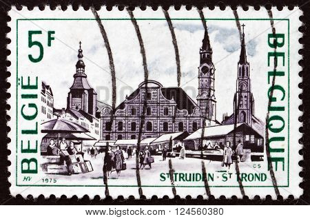 BELGIUM - CIRCA 1975: a stamp printed in the Belgium shows Grand-Place St Truiden circa 1975