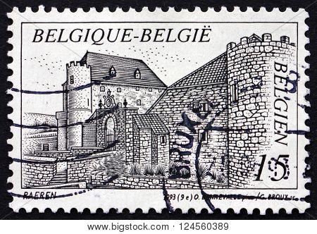 BELGIUM - CIRCA 1993: a stamp printed in the Belgium shows Castle Raeren Belgium circa 1993