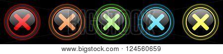 cancel colored web icons set on black background