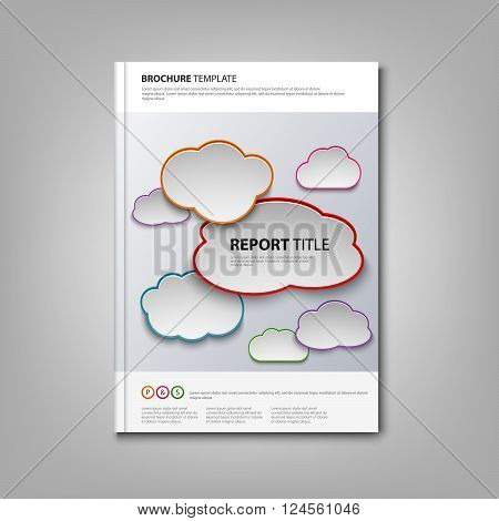 Brochures book or flyer with colored clouds template vector eps 10