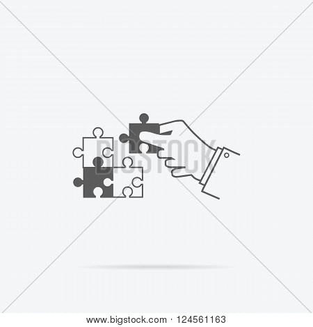 Creating or building own business concept. Puzzle piece, construction and development, build construct, idea and success, solution and growth, challenge and jigsaw illustration