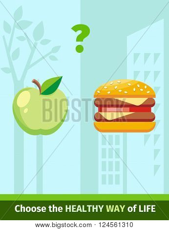 Apple or burger food design flat. Food apple and burger, healthy diet or hamburger, fruit or unhealthy cheeseburger, fresh or fast, choice and decision, lunch sandwich or apple vector illustration
