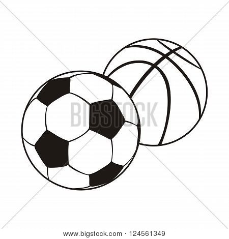 Monochrome set ball for football and basketball. Black white sports balls for playing football and basketball, combination equipment for teamwork isolated on white background. Vector illustration