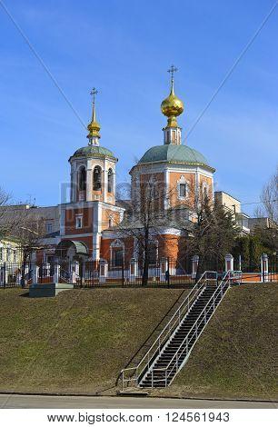 MOSCOW, RUSSIA - MARCH 28, 2016: Holy Trinity Church in the Troitskaya Sloboda Moscow Metochion Holy Trinity St. Sergius Lavra 17th century 2nd Troitskiy Lane 8/10
