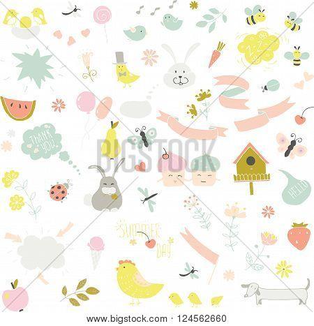 birds, rabbits, flowers, ribbons on white background for design