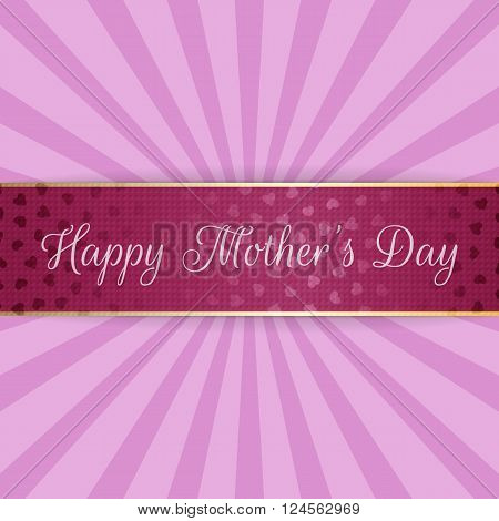 Mothers Day realistic festive bend Banner. Vector Illustration