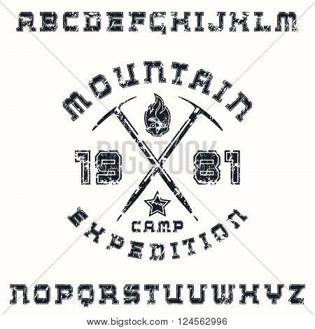 Square serif font with contour and expedition emblem. Black print on white background